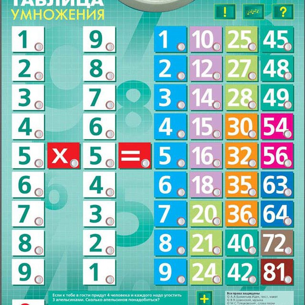 Говорящая таблица умножения /03184/Знаток