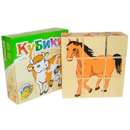 Кубики Домашние животные 9 шт /00396/Томик