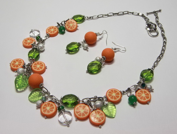 Бижутерия (колье и серьги) Апельсины