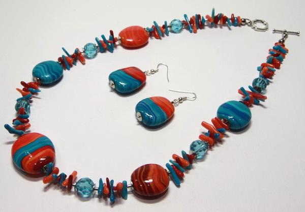 Бижутерия Голубое и красное - Танец стихий