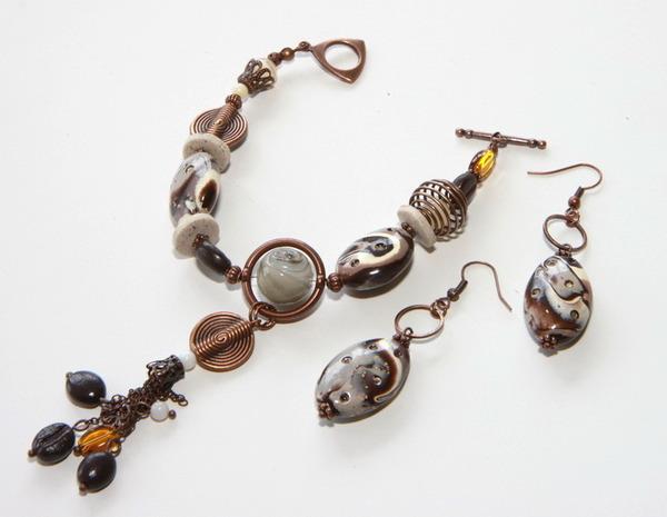 Бижутерия (браслет и серьги) Латте