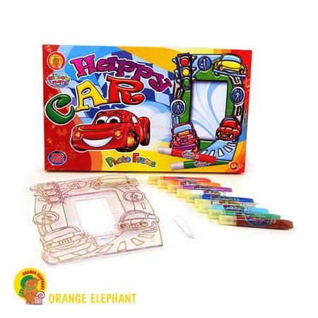 НАБОР витражных красок с витражом - фоторамкой Веселая машинка/24241/ Оранжевый слон