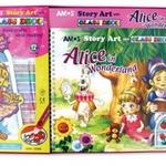 Набор витражных красок Алиса в стране чудес с книгой - альбомом/25754/Amos